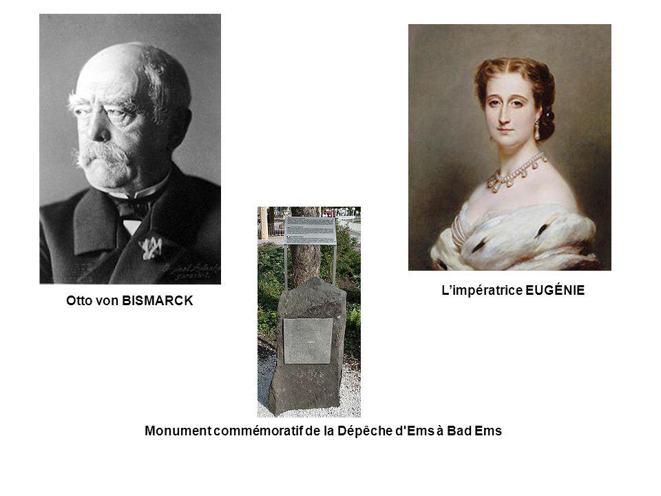 Otto von BISMARCK L'impératrice EUGÉNIE Monument commémoratif de la Dépêche d Ems à Bad Ems