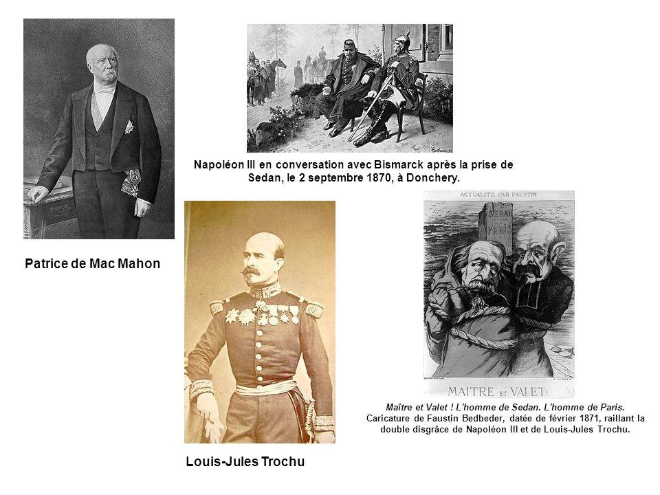 Louis-Jules Trochu Patrice de Mac Mahon Napoléon III en conversation avec Bismarck après la prise de Sedan, le 2 septembre 1870, à Donchery.