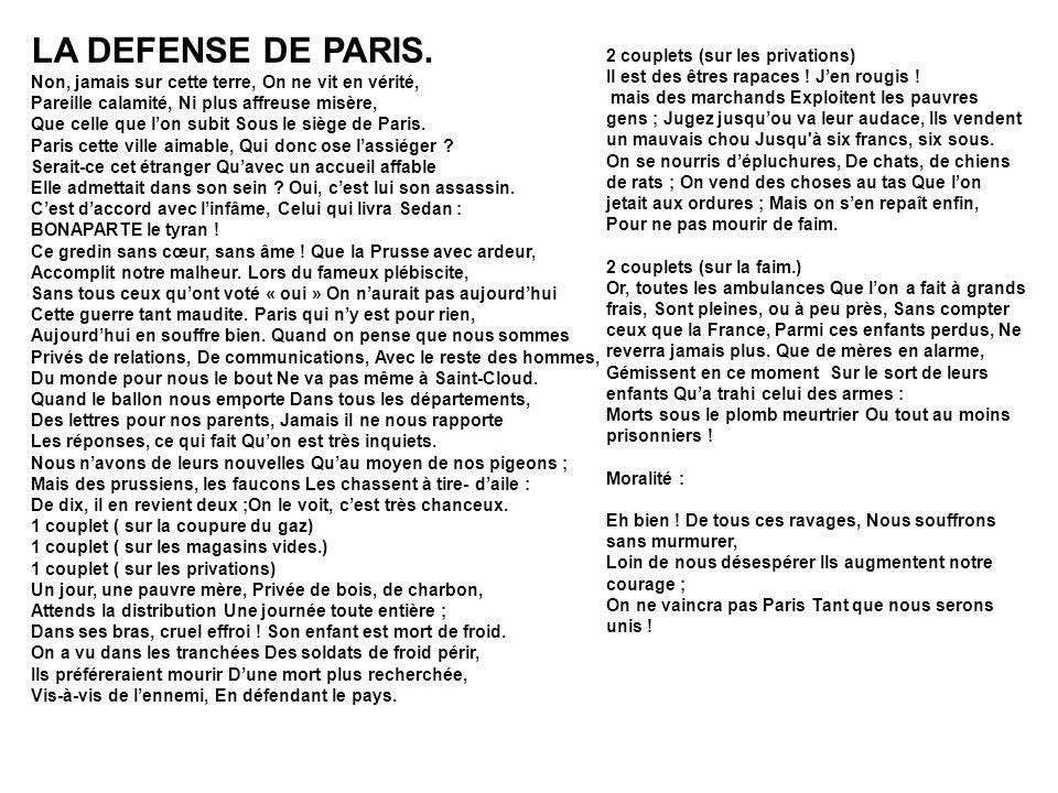LA DEFENSE DE PARIS.