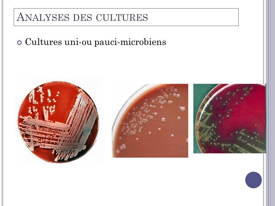 A NALYSES DES CULTURES Cultures uni-ou pauci-microbiens