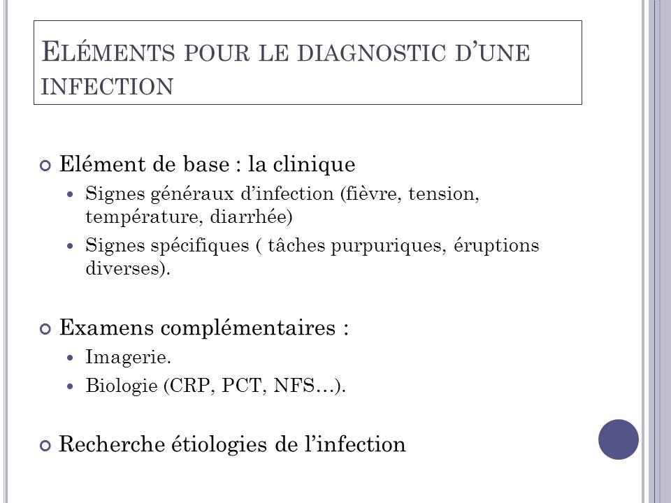 E LÉMENTS POUR LE DIAGNOSTIC D ' UNE INFECTION Elément de base : la clinique  Signes généraux d'infection (fièvre, tension, température, diarrhée)  Signes spécifiques ( tâches purpuriques, éruptions diverses).