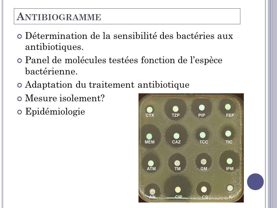 A NTIBIOGRAMME Détermination de la sensibilité des bactéries aux antibiotiques. Panel de molécules testées fonction de l'espèce bactérienne. Adaptatio