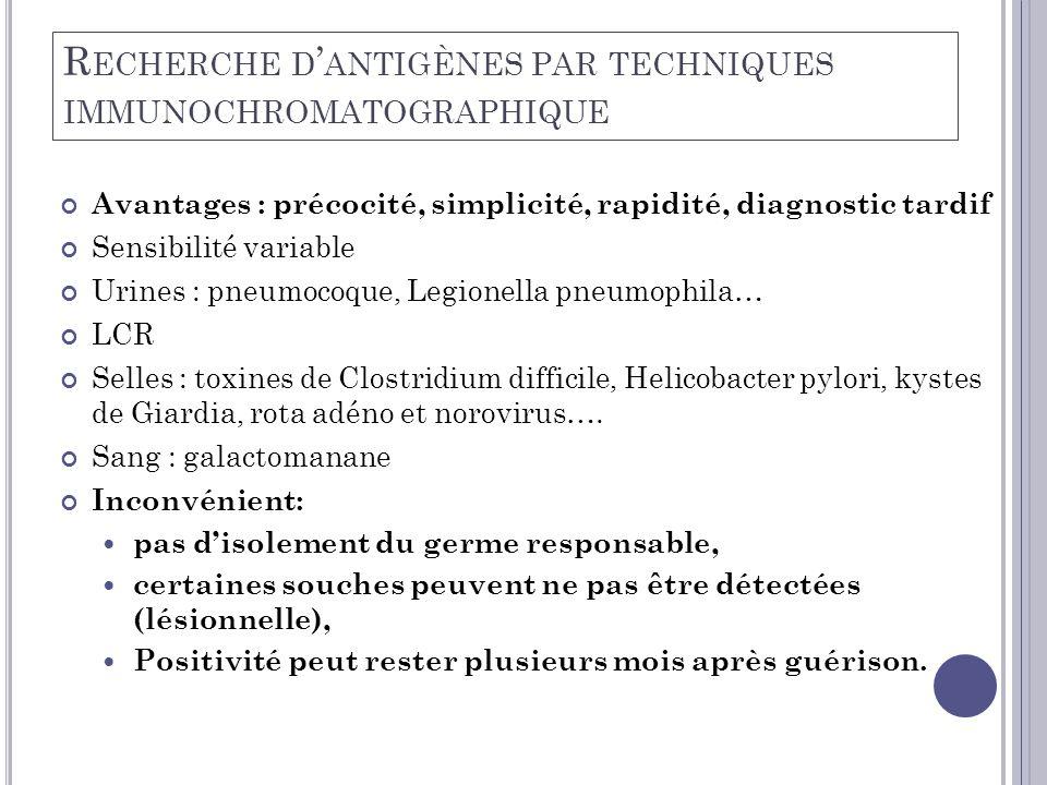 R ECHERCHE D ' ANTIGÈNES PAR TECHNIQUES IMMUNOCHROMATOGRAPHIQUE Avantages : précocité, simplicité, rapidité, diagnostic tardif Sensibilité variable Ur