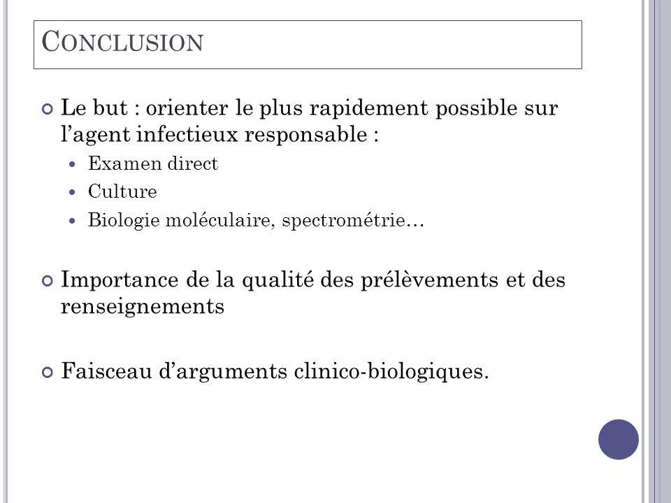 C ONCLUSION Le but : orienter le plus rapidement possible sur l'agent infectieux responsable :  Examen direct  Culture  Biologie moléculaire, spect