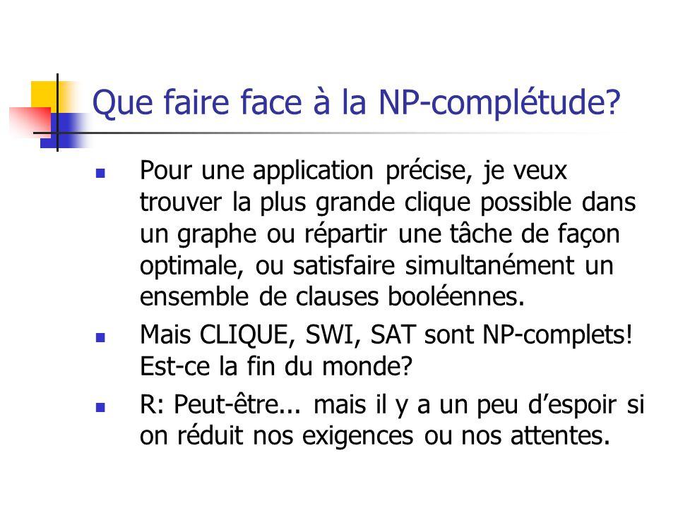 Que faire face à la NP-complétude?  Pour une application précise, je veux trouver la plus grande clique possible dans un graphe ou répartir une tâche