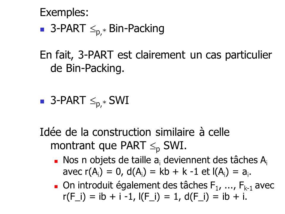 Exemples:  3-PART  p,* Bin-Packing En fait, 3-PART est clairement un cas particulier de Bin-Packing.  3-PART  p,* SWI Idée de la construction simi