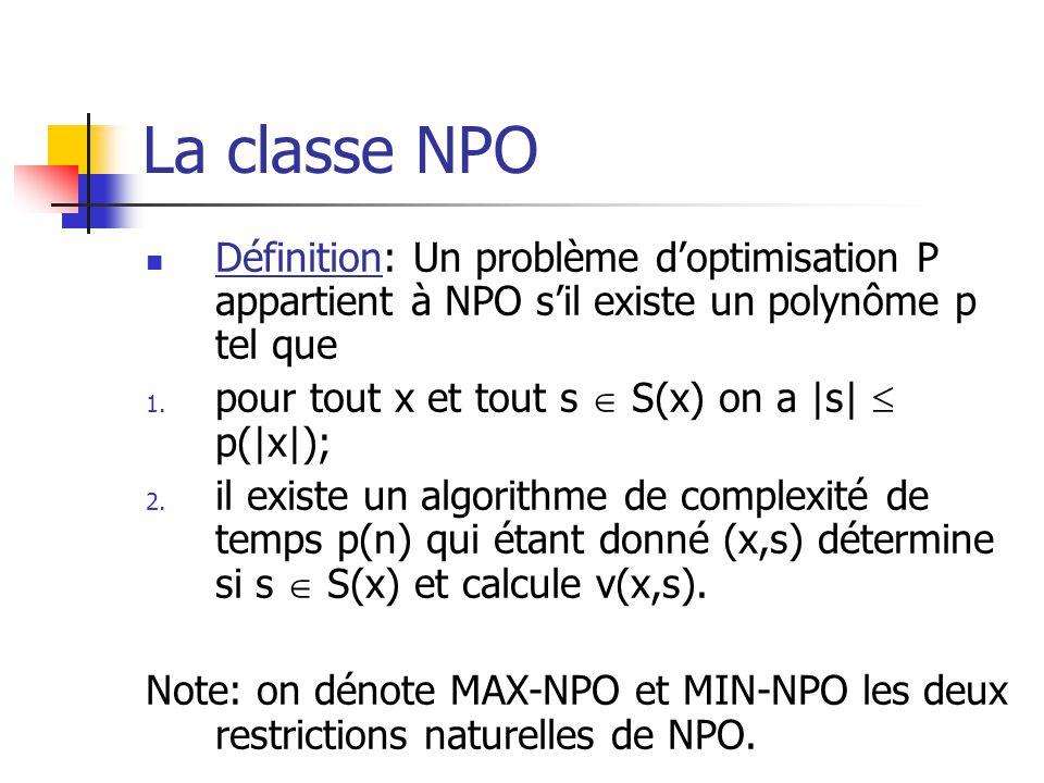 La classe NPO  Définition: Un problème d'optimisation P appartient à NPO s'il existe un polynôme p tel que 1. pour tout x et tout s  S(x) on a |s| 