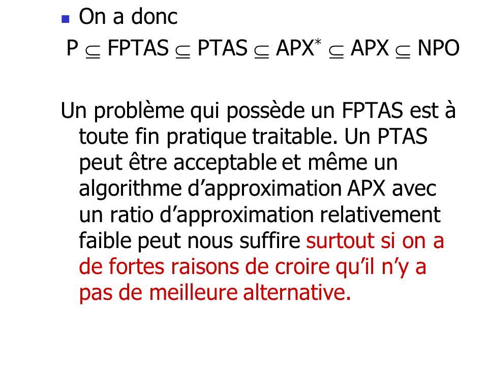  On a donc P  FPTAS  PTAS  APX *  APX  NPO Un problème qui possède un FPTAS est à toute fin pratique traitable. Un PTAS peut être acceptable et