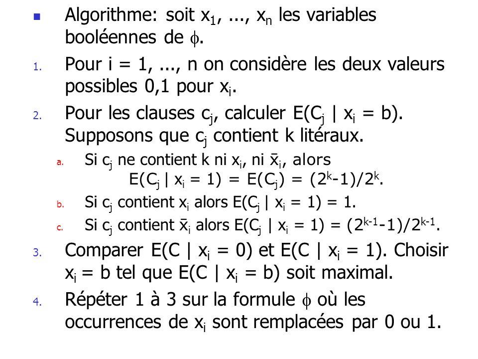  Algorithme: soit x 1,..., x n les variables booléennes de . 1. Pour i = 1,..., n on considère les deux valeurs possibles 0,1 pour x i. 2. Pour les