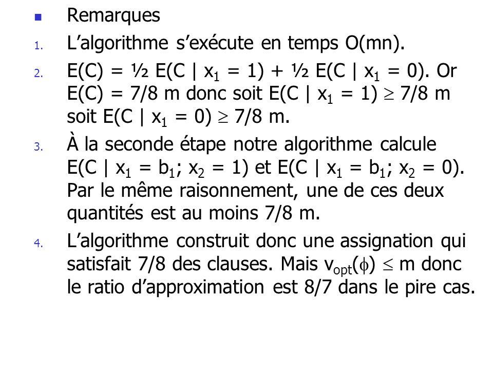  Remarques 1. L'algorithme s'exécute en temps O(mn). 2. E(C) = ½ E(C | x 1 = 1) + ½ E(C | x 1 = 0). Or E(C) = 7/8 m donc soit E(C | x 1 = 1)  7/8 m