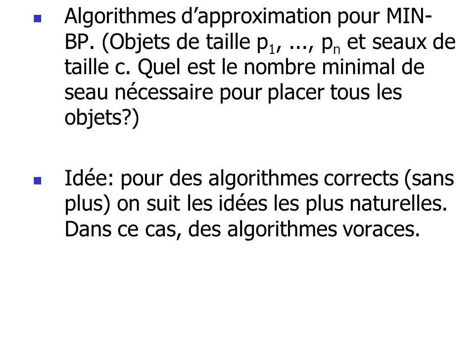  Algorithmes d'approximation pour MIN- BP. (Objets de taille p 1,..., p n et seaux de taille c. Quel est le nombre minimal de seau nécessaire pour pl