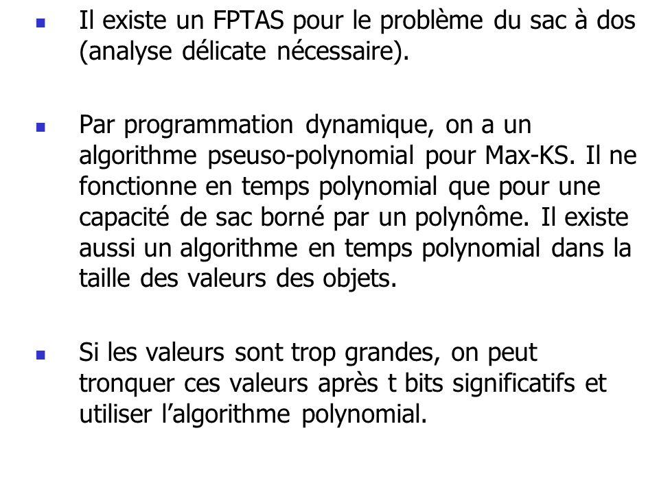  Il existe un FPTAS pour le problème du sac à dos (analyse délicate nécessaire).  Par programmation dynamique, on a un algorithme pseuso-polynomial