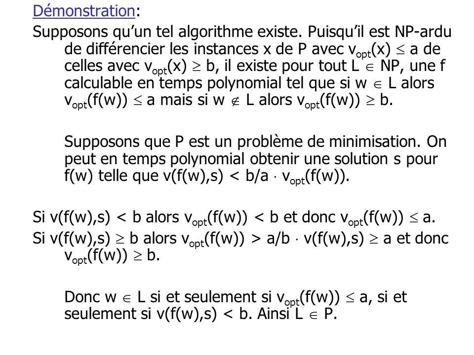 Démonstration: Supposons qu'un tel algorithme existe. Puisqu'il est NP-ardu de différencier les instances x de P avec v opt (x)  a de celles avec v o
