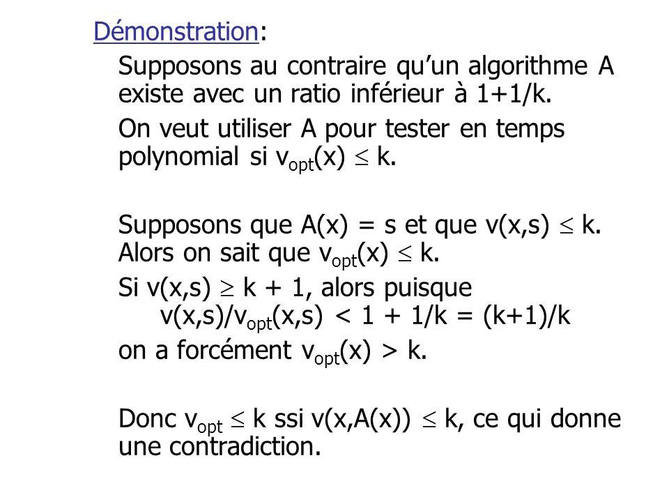 Démonstration: Supposons au contraire qu'un algorithme A existe avec un ratio inférieur à 1+1/k. On veut utiliser A pour tester en temps polynomial si