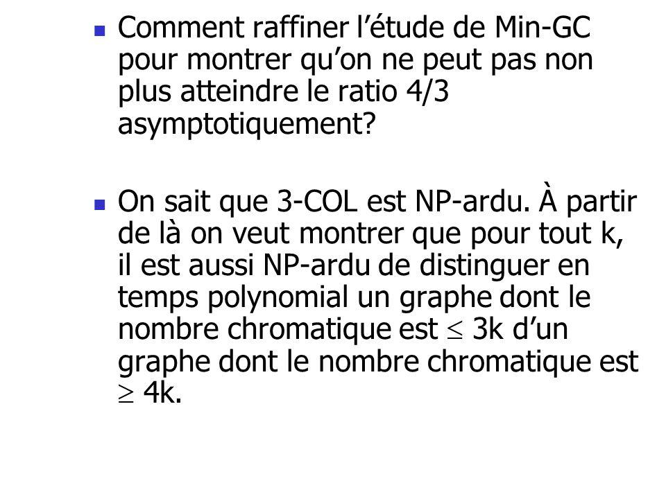  Comment raffiner l'étude de Min-GC pour montrer qu'on ne peut pas non plus atteindre le ratio 4/3 asymptotiquement?  On sait que 3-COL est NP-ardu.
