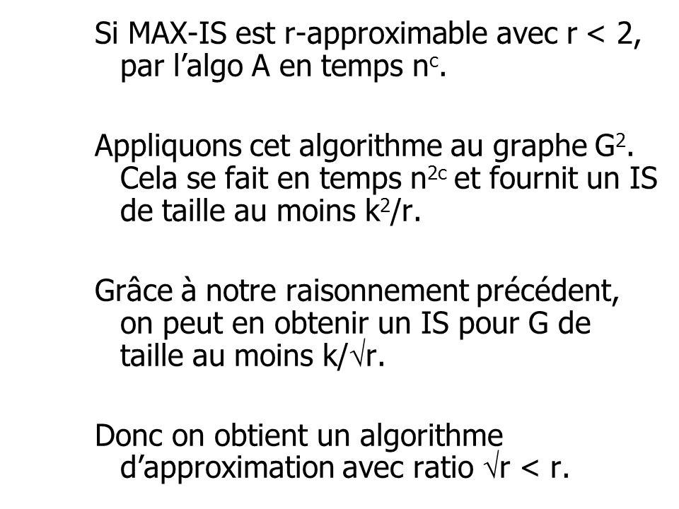 Si MAX-IS est r-approximable avec r < 2, par l'algo A en temps n c. Appliquons cet algorithme au graphe G 2. Cela se fait en temps n 2c et fournit un