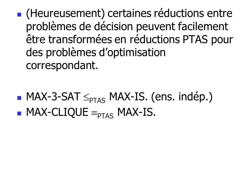  (Heureusement) certaines réductions entre problèmes de décision peuvent facilement être transformées en réductions PTAS pour des problèmes d'optimis