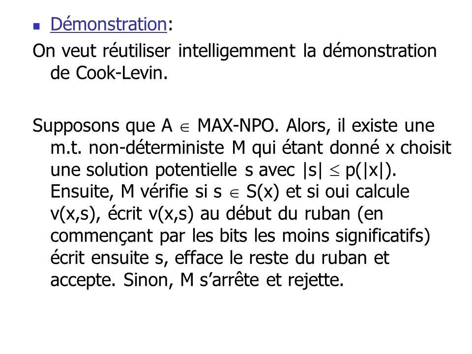  Démonstration: On veut réutiliser intelligemment la démonstration de Cook-Levin. Supposons que A  MAX-NPO. Alors, il existe une m.t. non-déterminis