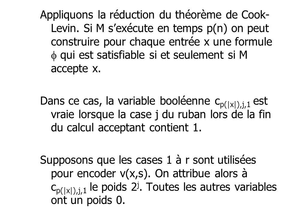 Appliquons la réduction du théorème de Cook- Levin. Si M s'exécute en temps p(n) on peut construire pour chaque entrée x une formule  qui est satisfi