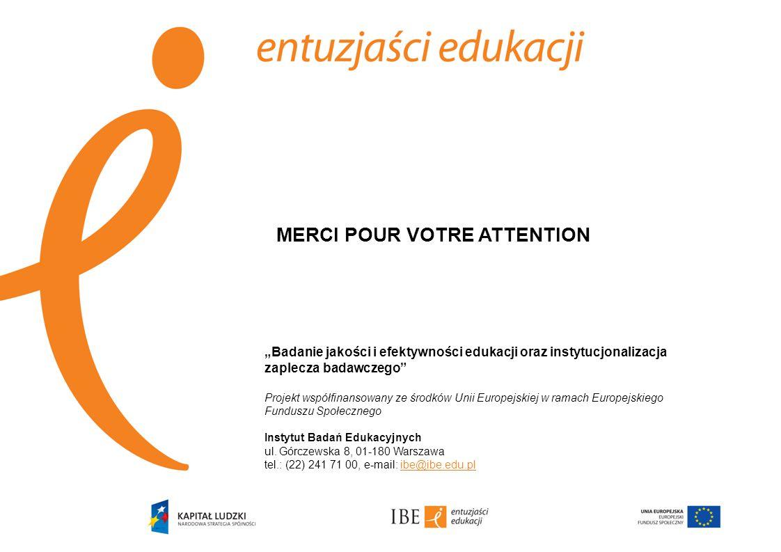 """""""Badanie jakości i efektywności edukacji oraz instytucjonalizacja zaplecza badawczego Projekt współfinansowany ze środków Unii Europejskiej w ramach Europejskiego Funduszu Społecznego Instytut Badań Edukacyjnych ul."""