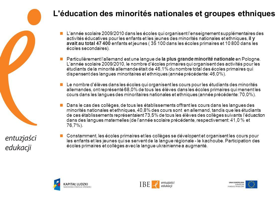 L éducation des minorités nationales et groupes ethniques  L année scolaire 2009/2010 dans les écoles qui organisent l'enseignement supplémentaires des activités éducatives pour les enfants et les jeunes des minorités nationales et ethniques, il y avait au total 47 400 enfants et jeunes ( 35 100 dans les écoles primaires et 10 800 dans les écoles secondaires).
