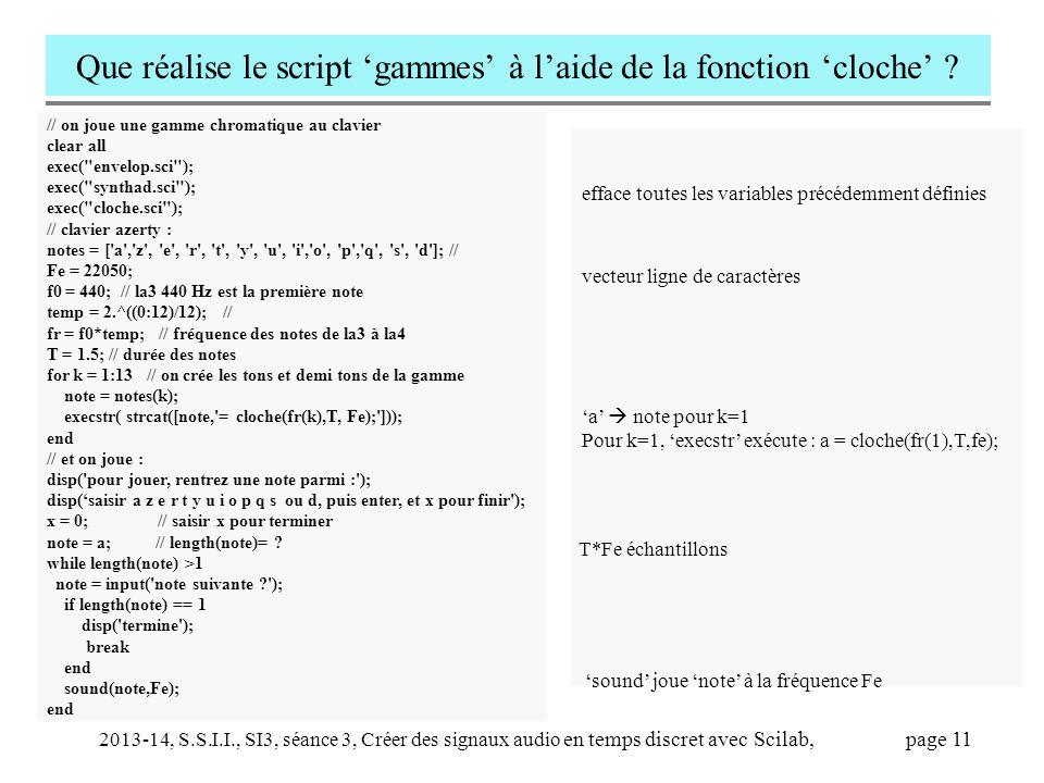 2013-14, S.S.I.I., SI3, séance 3, Créer des signaux audio en temps discret avec Scilab, page 11 Que réalise le script 'gammes' à l'aide de la fonction