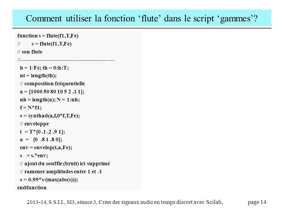 2013-14, S.S.I.I., SI3, séance 3, Créer des signaux audio en temps discret avec Scilab, page 14 Comment utiliser la fonction 'flute' dans le script 'g