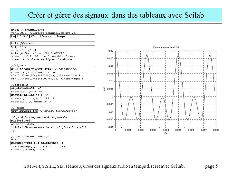 2013-14, S.S.I.I., SI3, séance 3, Créer des signaux audio en temps discret avec Scilab, page 5 Créer et gérer des signaux dans des tableaux avec Scila