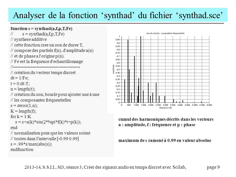 2013-14, S.S.I.I., SI3, séance 3, Créer des signaux audio en temps discret avec Scilab, page 10 Fonction 'envelop' utilisée dans le script 'sinus' et dans la fonction 'cloche' A\B calcule la solution x de A*x = B, soit x=A -1 *B on s en sert ici pour trouver les coefficients directeurs c et b de l enveloppe entre t(k) et t(k+1) : Ligne : cb = [t(k) 1; t(k+1) 1]\[a(k) ; a(k+1)]; a= c*t+b pour t(k) < t <t(k+1) Que valent c et b .