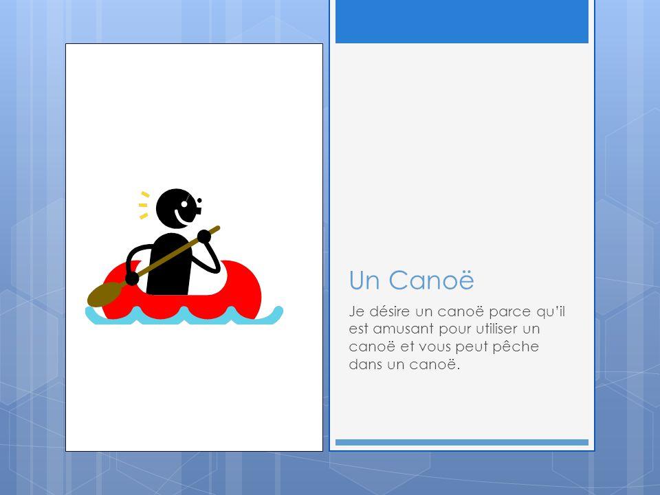 Un Canoë Je désire un canoë parce qu'il est amusant pour utiliser un canoë et vous peut pêche dans un canoë.