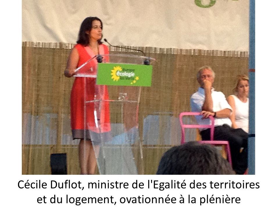 Cécile Duflot, ministre de l'Egalité des territoires et du logement, ovationnée à la plénière