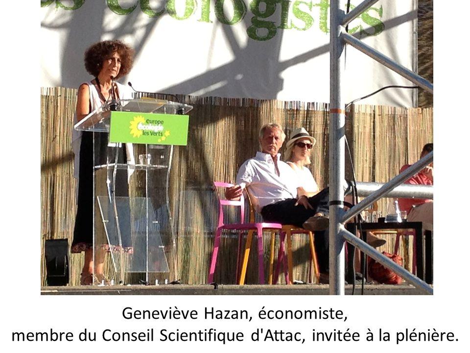 Geneviève Hazan, économiste, membre du Conseil Scientifique d'Attac, invitée à la plénière.