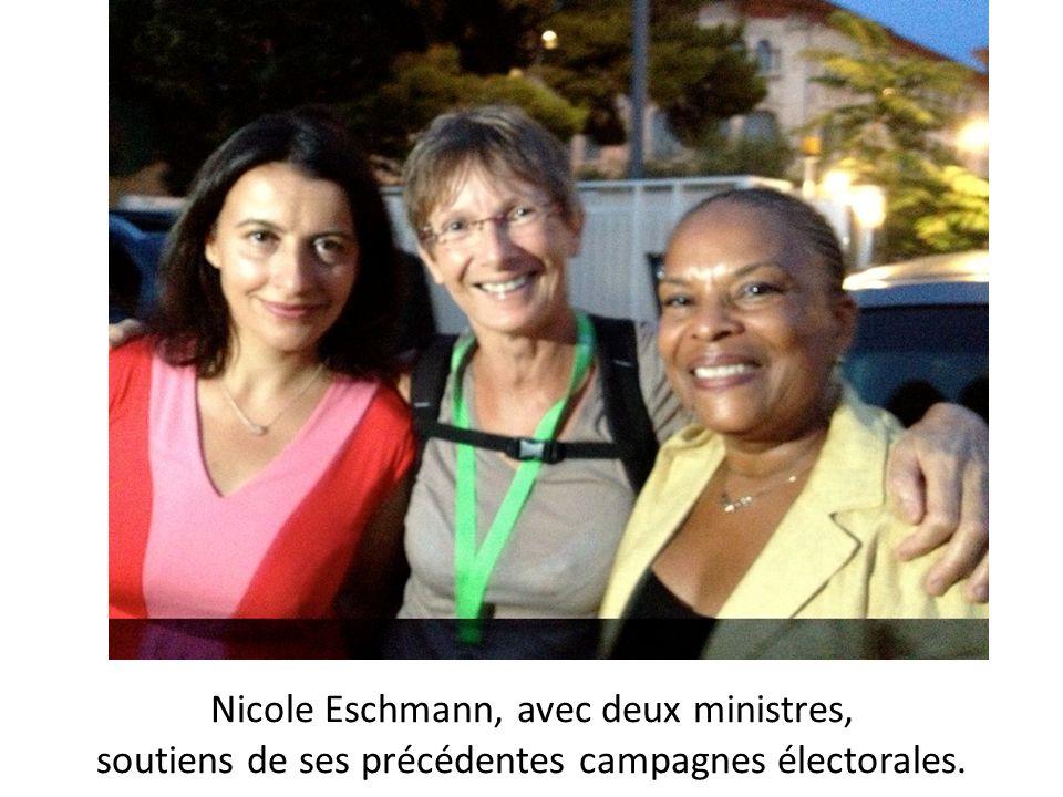 Nicole Eschmann, avec deux ministres, soutiens de ses précédentes campagnes électorales.