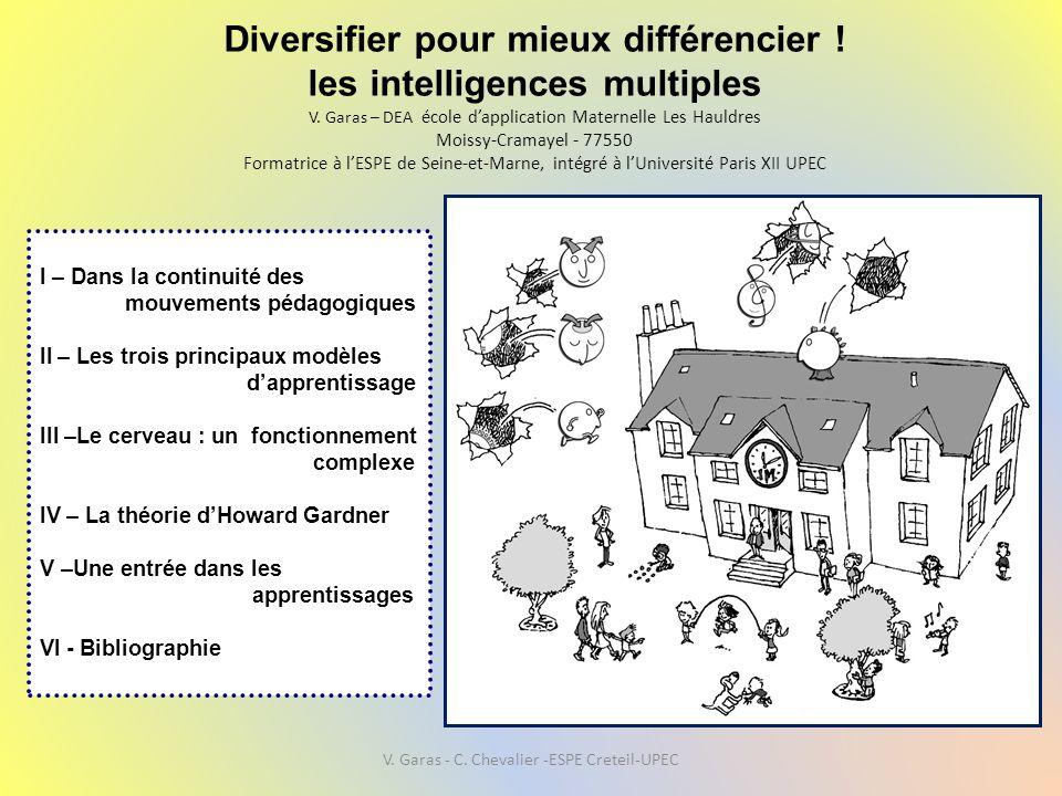 Diversifier pour mieux différencier ! les intelligences multiples V. Garas – DEA école d'application Maternelle Les Hauldres Moissy-Cramayel - 77550 F