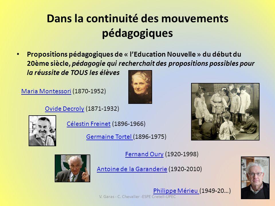 Dans la continuité des mouvements pédagogiques • Propositions pédagogiques de « l'Education Nouvelle » du début du 20ème siècle, pédagogie qui recherc