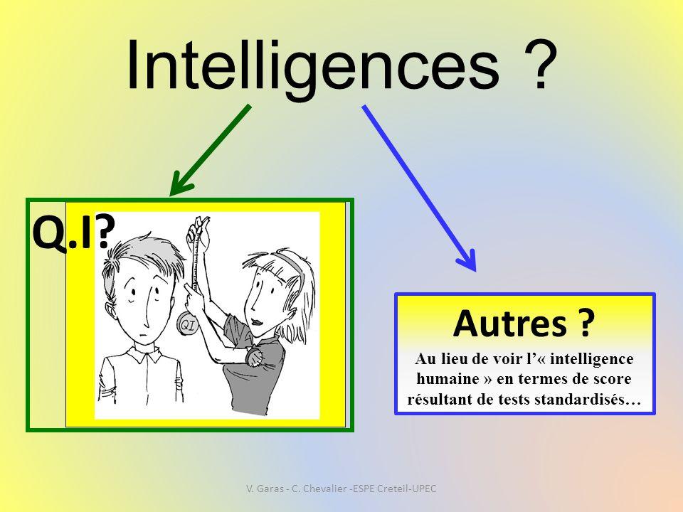 Intelligences ? Q.I? Autres ? Au lieu de voir l'« intelligence humaine » en termes de score résultant de tests standardisés… V. Garas - C. Chevalier -