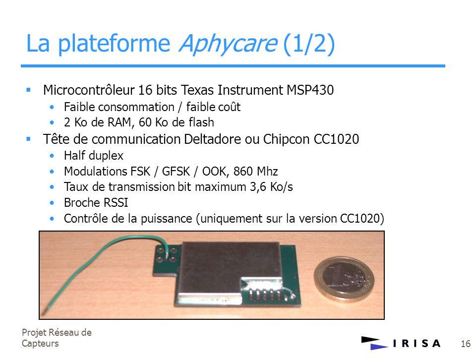 Projet Réseau de Capteurs 16 La plateforme Aphycare (1/2)  Microcontrôleur 16 bits Texas Instrument MSP430 •Faible consommation / faible coût •2 Ko d