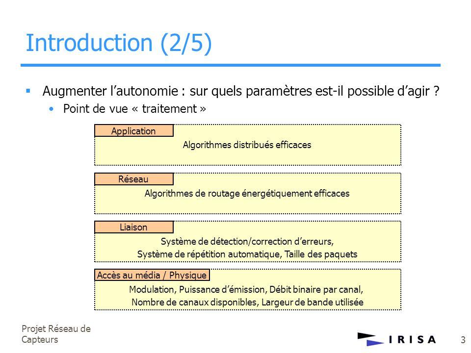 Projet Réseau de Capteurs 4 Introduction (3/5)  Augmenter l'autonomie : sur quels paramètres est-il possible d'agir .