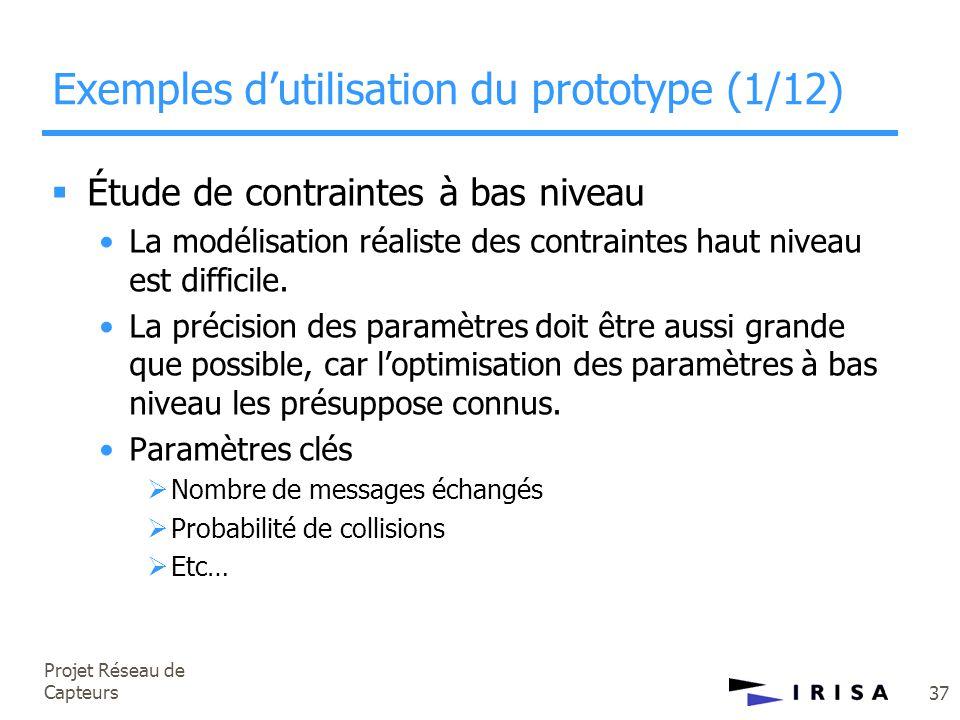 Projet Réseau de Capteurs 37 Exemples d'utilisation du prototype (1/12)  Étude de contraintes à bas niveau •La modélisation réaliste des contraintes