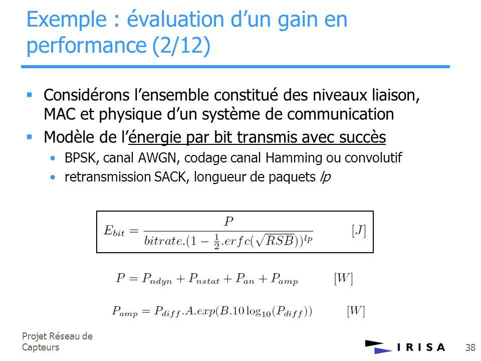 Projet Réseau de Capteurs 38 Exemple : évaluation d'un gain en performance (2/12)  Considérons l'ensemble constitué des niveaux liaison, MAC et physi