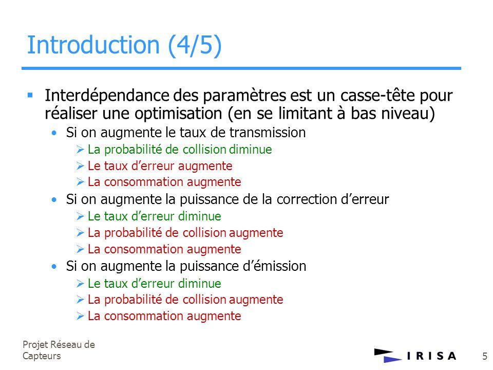 Projet Réseau de Capteurs 5 Introduction (4/5)  Interdépendance des paramètres est un casse-tête pour réaliser une optimisation (en se limitant à bas