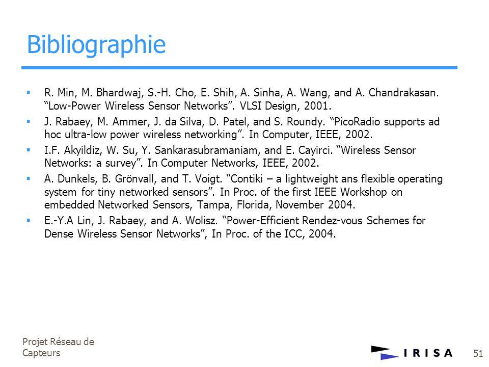 "Projet Réseau de Capteurs 51 Bibliographie  R. Min, M. Bhardwaj, S.-H. Cho, E. Shih, A. Sinha, A. Wang, and A. Chandrakasan. ""Low-Power Wireless Sens"
