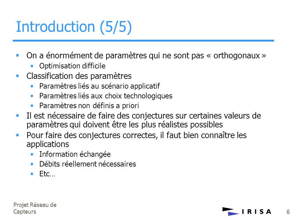 Projet Réseau de Capteurs 6 Introduction (5/5)  On a énormément de paramètres qui ne sont pas « orthogonaux » •Optimisation difficile  Classificatio