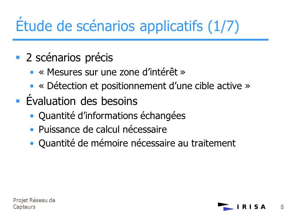 Projet Réseau de Capteurs 8 Étude de scénarios applicatifs (1/7)  2 scénarios précis •« Mesures sur une zone d'intérêt » •« Détection et positionneme