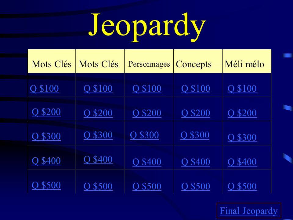 Jeopardy Mots Clés Personnages Concepts Méli mélo Q $100 Q $200 Q $300 Q $400 Q $500 Q $100 Q $200 Q $300 Q $400 Q $500 Final Jeopardy