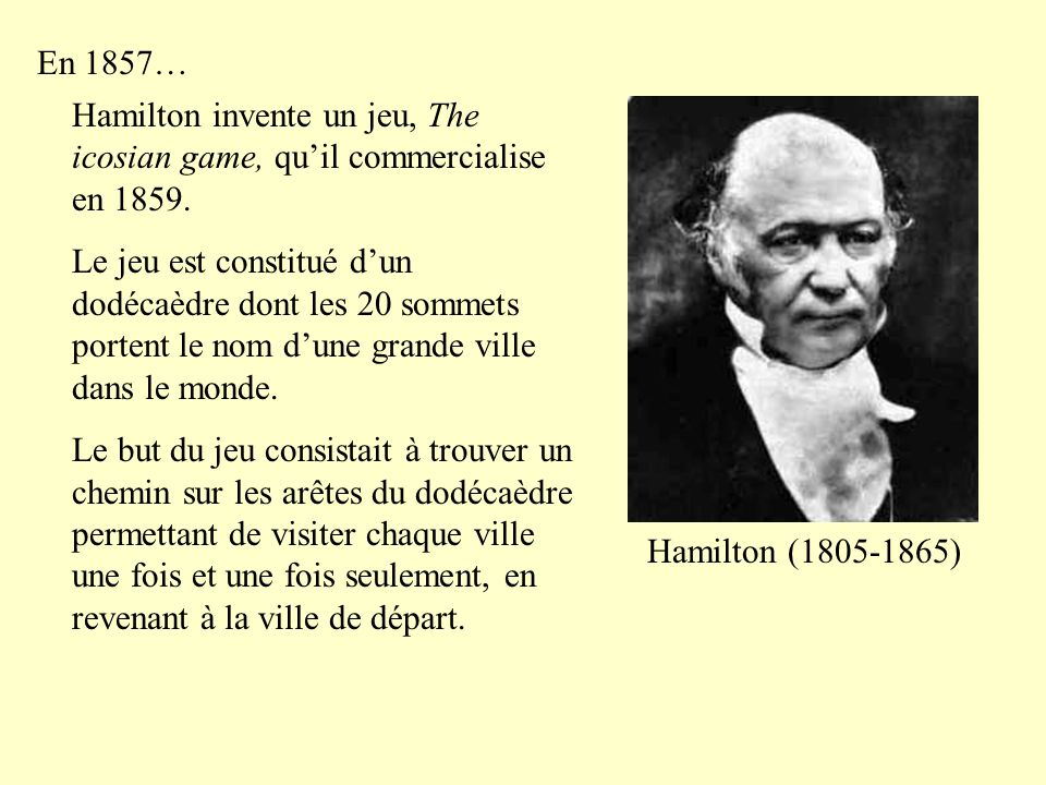 En 1857… Hamilton invente un jeu, The icosian game, qu'il commercialise en 1859. Le jeu est constitué d'un dodécaèdre dont les 20 sommets portent le n