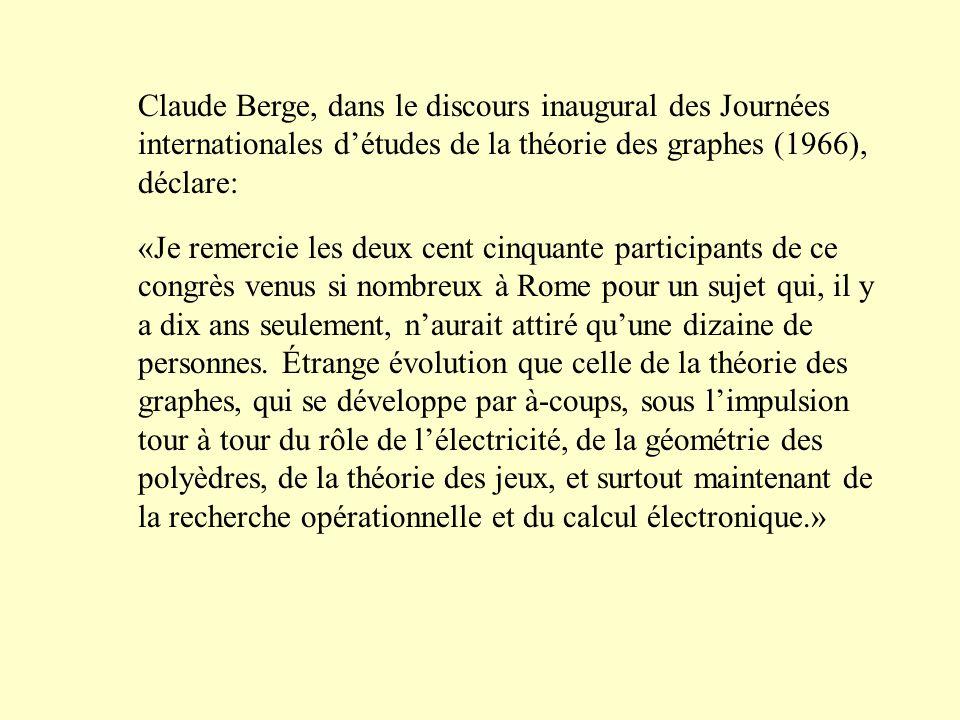 Claude Berge, dans le discours inaugural des Journées internationales d'études de la théorie des graphes (1966), déclare: «Je remercie les deux cent c