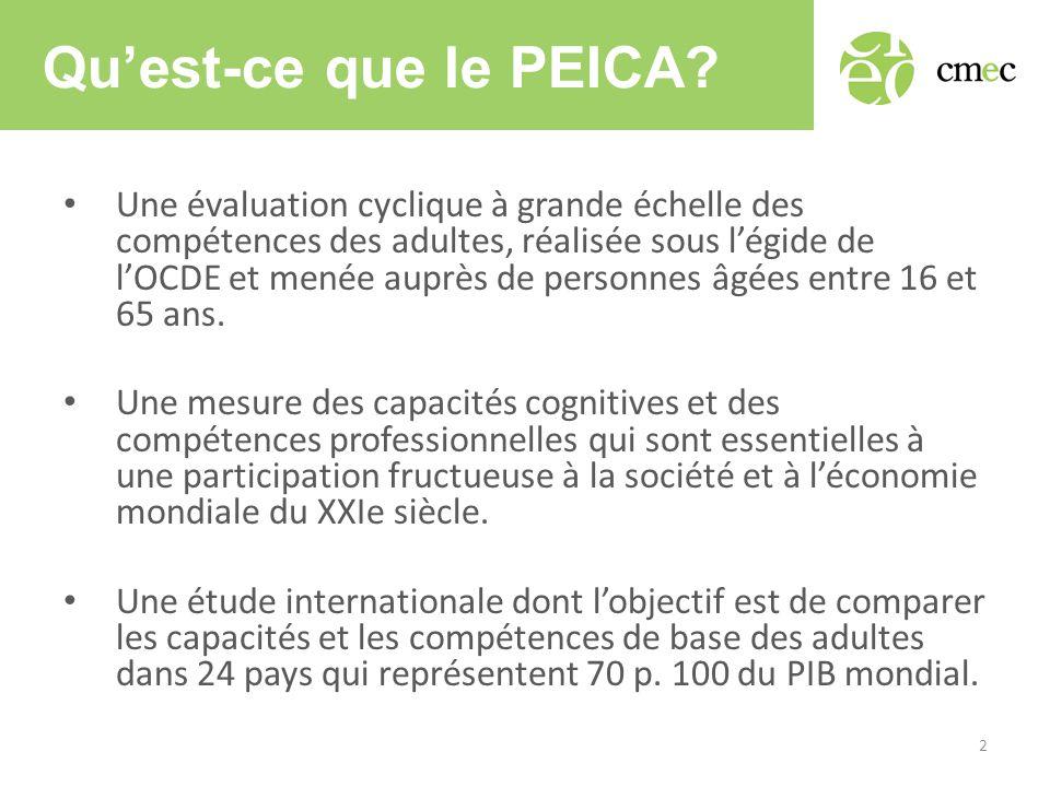 Qu'est-ce que le PEICA? • Une évaluation cyclique à grande échelle des compétences des adultes, réalisée sous l'égide de l'OCDE et menée auprès de per