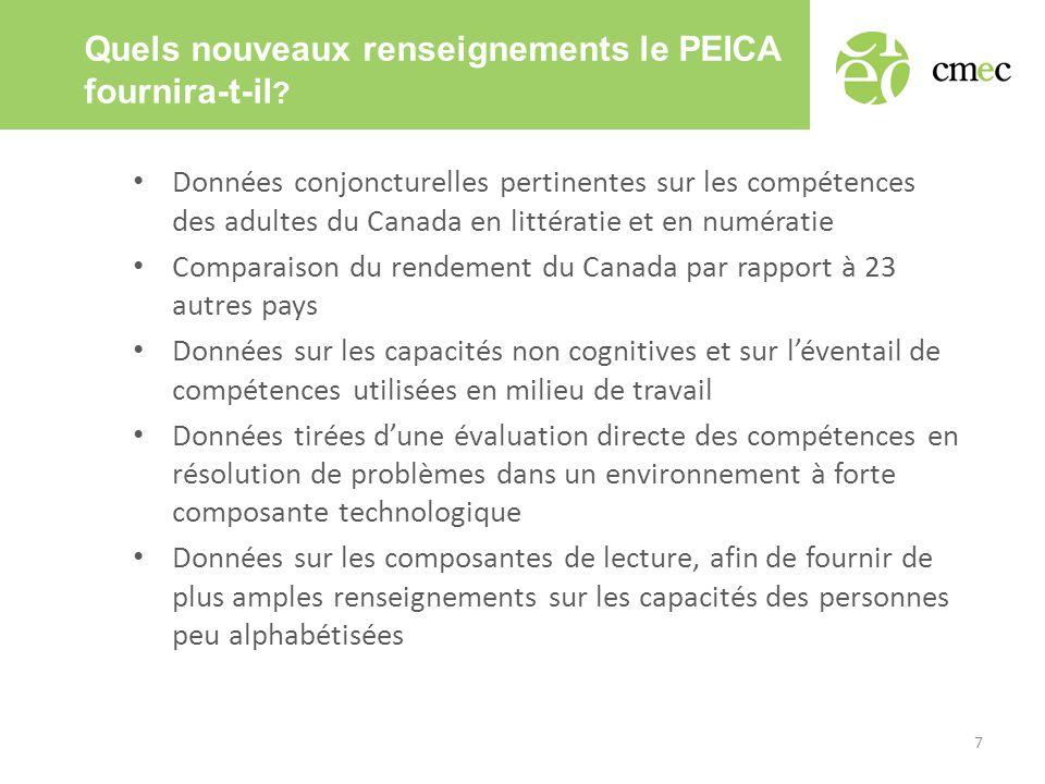 Quels nouveaux renseignements le PEICA fournira-t-il ? • Données conjoncturelles pertinentes sur les compétences des adultes du Canada en littératie e