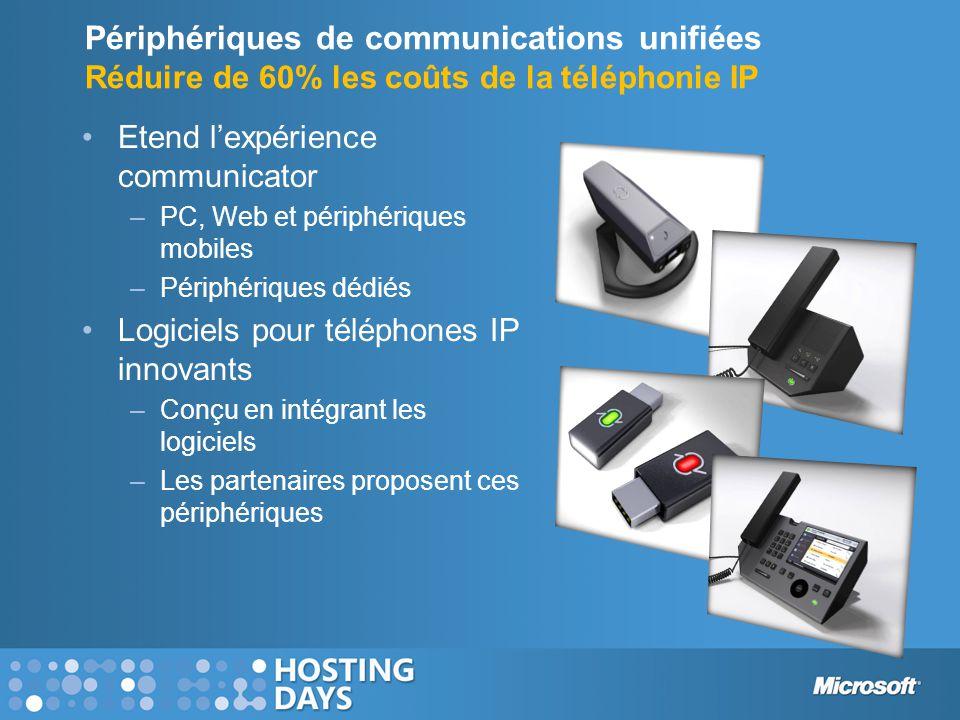 Périphériques de communications unifiées Réduire de 60% les coûts de la téléphonie IP •Etend l'expérience communicator –PC, Web et périphériques mobil